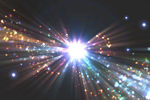 光のパーティクルと放射光のアブストラクト背景のイラスト素材 [FYI04838603]