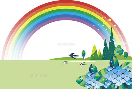 紫陽花と雨上がりの虹の背景のイラスト素材 [FYI04839248]