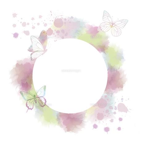 蝶のシルエットと抽象フレームのイラスト素材 [FYI04839647]