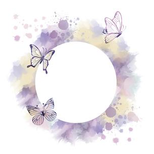蝶のシルエットと抽象フレームのイラスト素材 [FYI04839727]