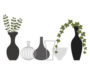 たくさんの花瓶と観葉植物のイラスト素材 [FYI04840008]