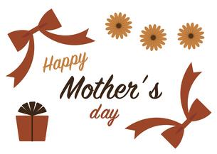 母の日カード リボンとプレゼントと花のイラスト素材 [FYI04840012]