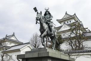 戸田氏鉄公騎馬像越しに見る大垣城天守の写真素材 [FYI04840326]