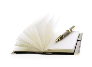 万年筆と手帳の写真素材 [FYI04840406]