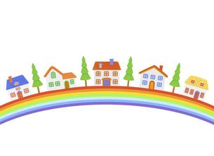 虹と家並みの写真素材 [FYI04840503]