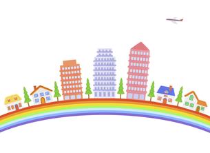 虹とマンションと家並みの写真素材 [FYI04840504]