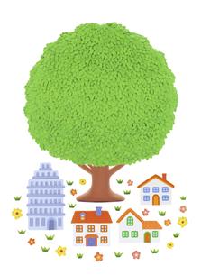 大樹と家並みの写真素材 [FYI04840505]