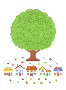 大樹と家並みの写真素材 [FYI04840506]