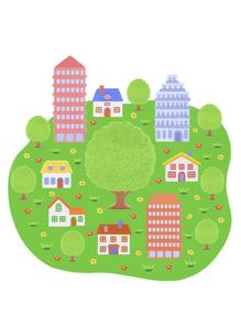 緑の大地と家並みの写真素材 [FYI04840507]
