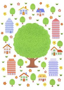 大樹と家並みの写真素材 [FYI04840513]