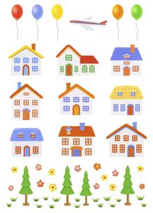 粘土の家と風船と飛行機の写真素材 [FYI04840515]