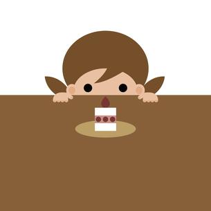 女の子がケーキをじっと見ているイラストのイラスト素材 [FYI04840933]