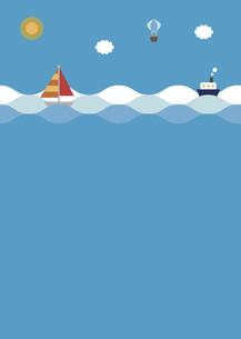 海に浮かぶヨットと船のイラスト素材 [FYI04840935]