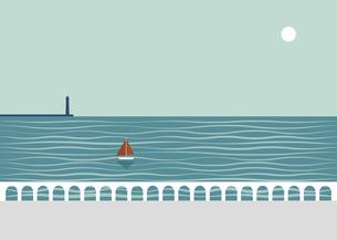 夏の海とヨットと灯台のイラスト素材 [FYI04840936]
