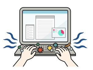 ウイルスや菌が付着しているパソコンキーボードのイラスト素材 [FYI04841442]