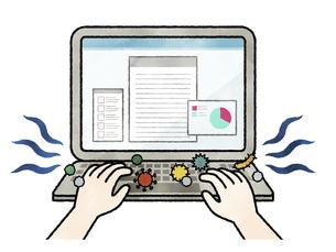 ウイルスや菌が付着しているパソコンキーボード-水彩のイラスト素材 [FYI04841443]