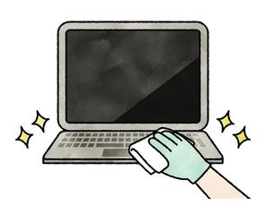 パソコンキーボードの掃除や除菌-水彩のイラスト素材 [FYI04841446]