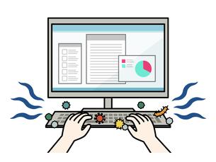 ウイルスや菌が付着しているパソコンキーボードのイラスト素材 [FYI04841448]