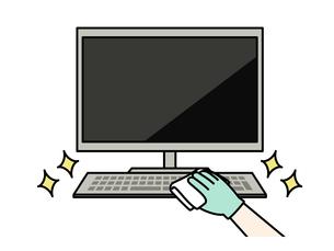 パソコンキーボードの掃除や除菌のイラスト素材 [FYI04841451]