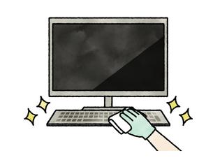 パソコンキーボードの掃除や除菌-水彩のイラスト素材 [FYI04841452]