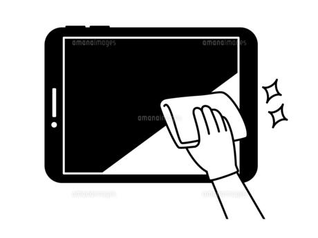 タブレットPCの掃除や除菌-白黒のイラスト素材 [FYI04841517]