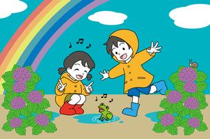 梅雨、レインコートを着た男の子と女の子のイラスト素材 [FYI04841524]