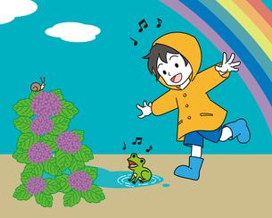 梅雨、レインコートを着た男の子とカエルのイラスト素材 [FYI04841525]