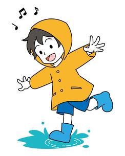 水溜りで遊ぶ、レインコートを着た、男の子のイラスト素材 [FYI04841526]