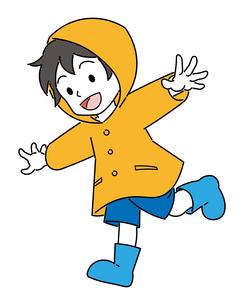 レインコートを着た、男の子のイラスト素材 [FYI04841527]