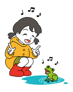 レインコートを着た女の子とカエルのイラスト素材 [FYI04841529]