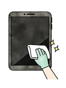 タブレットPCの掃除や除菌-水彩のイラスト素材 [FYI04841538]