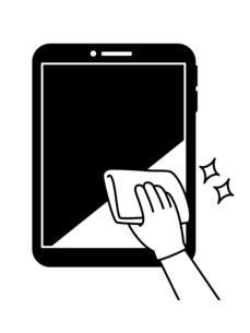 タブレットPCの掃除や除菌-白黒のイラスト素材 [FYI04841539]