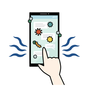 ウイルスや菌が付着しているスマートフォンのイラスト素材 [FYI04841540]