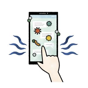 ウイルスや菌が付着しているスマートフォン-水彩のイラスト素材 [FYI04841541]