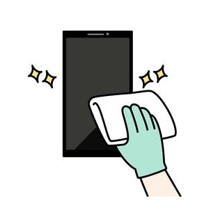 スマートフォンの掃除や除菌のイラスト素材 [FYI04841543]