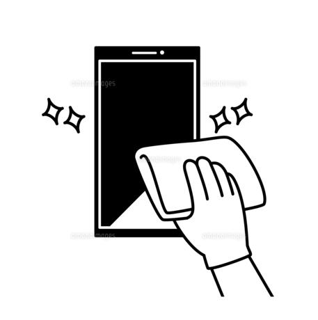 スマートフォンの掃除や除菌-白黒のイラスト素材 [FYI04841545]