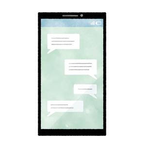 スマートフォン-メッセージ-水彩のイラスト素材 [FYI04841605]