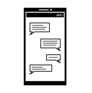 スマートフォン-メッセージ-白黒のイラスト素材 [FYI04841606]