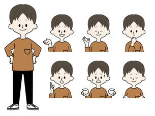 男性の表情セットのイラスト素材 [FYI04841610]