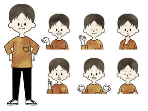 男性の表情セット-水彩のイラスト素材 [FYI04841611]