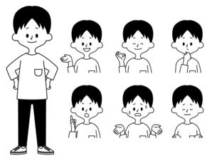 男性の表情セット-白黒のイラスト素材 [FYI04841612]