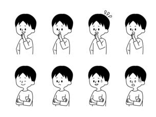 男性の表情セット-白黒のイラスト素材 [FYI04841615]