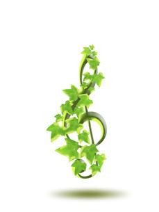 音符と植物 アイビー 音楽 ト音記号 八分音符 白背景のイラスト素材 [FYI04842139]
