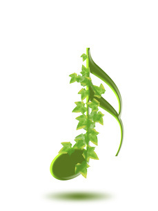 音符と植物 アイビー 音楽 ト音記号 八分音符 白背景の写真素材 [FYI04842140]