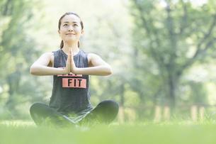 公園でヨガ・ストレッチをする女性の写真素材 [FYI04842499]