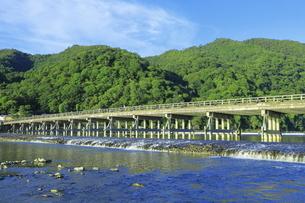 朝の嵐山と渡月橋 の写真素材 [FYI04843640]