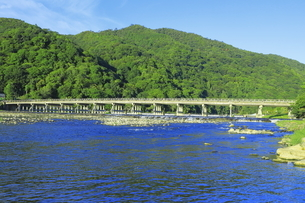 朝の嵐山と渡月橋 の写真素材 [FYI04843643]