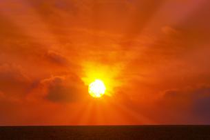 草原と朝日の写真素材 [FYI04844507]