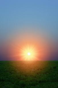草原と朝日の写真素材 [FYI04844509]