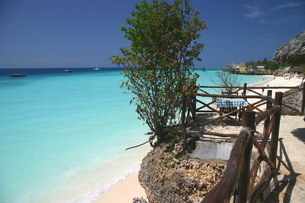 美しいザンジバルの海を眺める特等席の写真素材 [FYI04845585]
